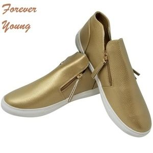 Women's Fashion Zipper Walking Shoes SN-2808, Gold